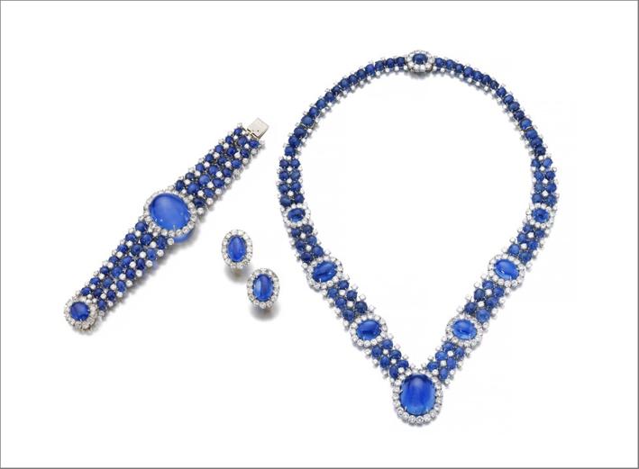 Parure con zaffiri e diamanti anni Sessanta