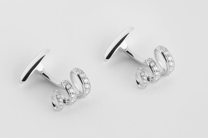 Gemelli in oro bianco con diamanti