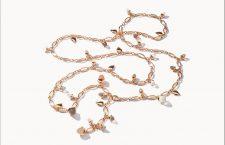 Collana Mikado in oro rosa, diamanti, pietra luna