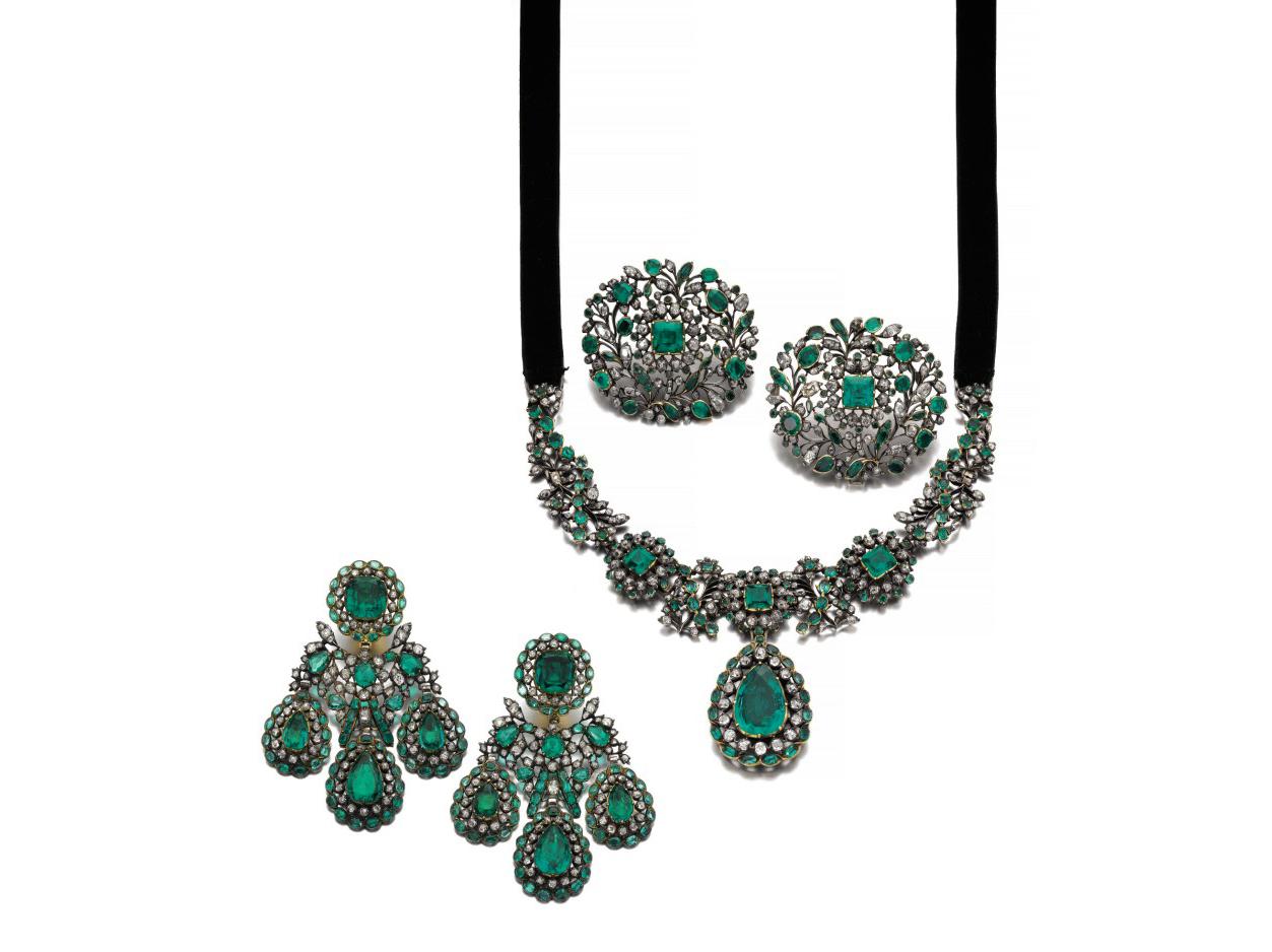 Parure settecentesca con smeraldi colombiani e diamanti, collezione di Manuel de Guirior y Portal de Huarte y Edozain, primo marchese de Guirior, venduta per circa 1 milione di dollari