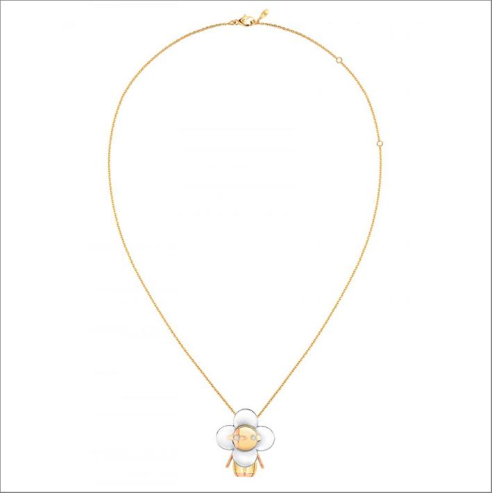 Collana Louis Vuitton in oro rosa e smalto bianco