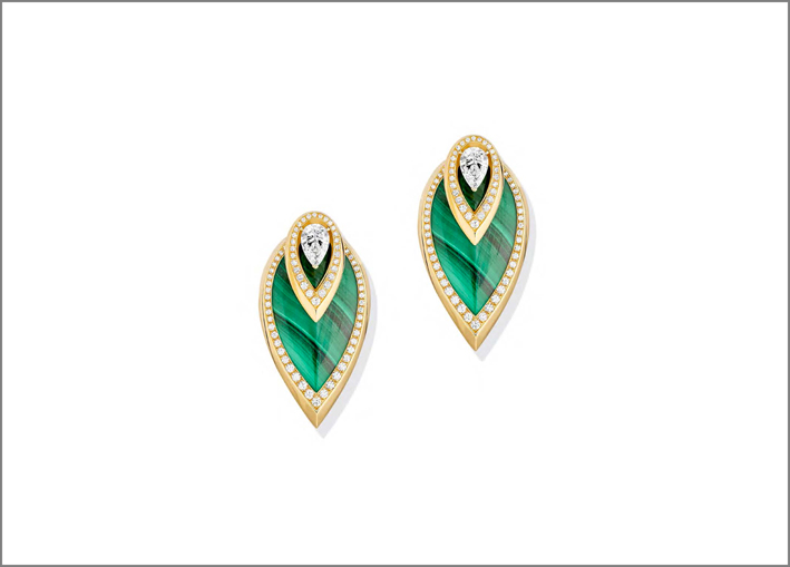 Orecchini in oro, malachite, diamanti