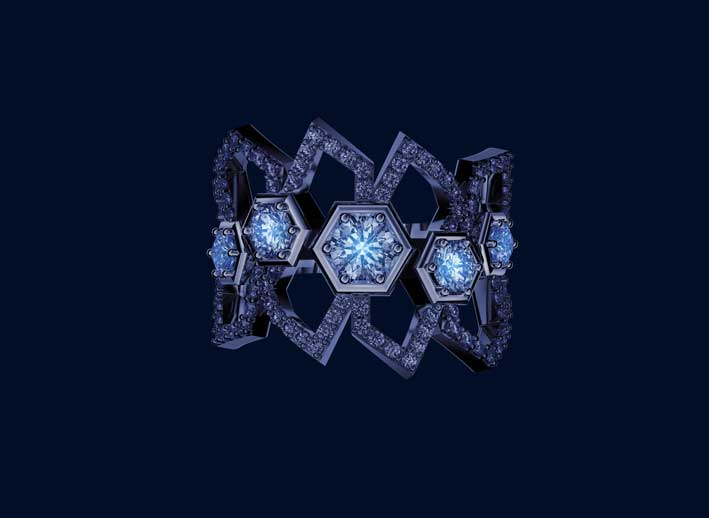 Anello in oro bianco e diamanti con effetto fluorescenza