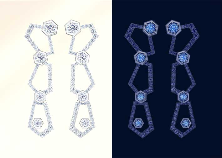 Orecchini con diamanti fluorescenti