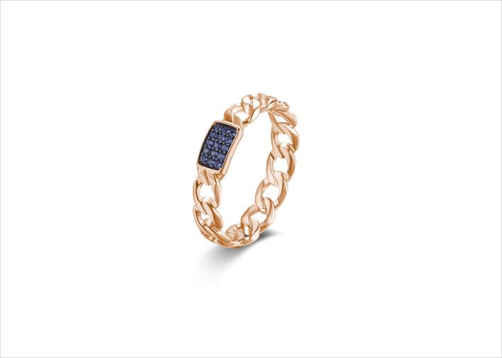 Anello in argento 925‰, placcatura oro rosa e rutenio, 15 cubic zirconia blu