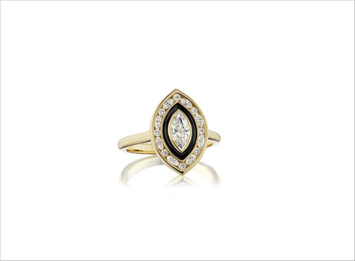Anello in oro giallo, diamanti e smalto