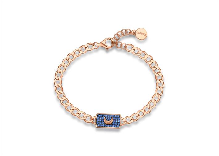 Bracciale in argento 925‰, placcatura oro rosa e rutenio, 41 zirconi blu