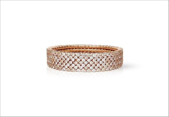 Cashmere, bracciale elastico in oro rosa 18 carati con diamanti brown