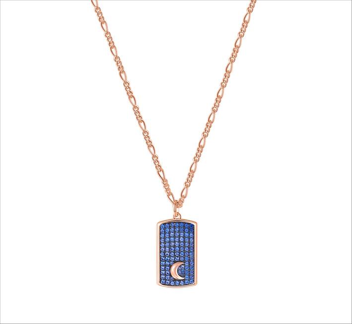 Collana lunga in argento 925‰, placcatura oro rosa e rutenio, pendente a forma di tag, 86 cubic zirconia blu