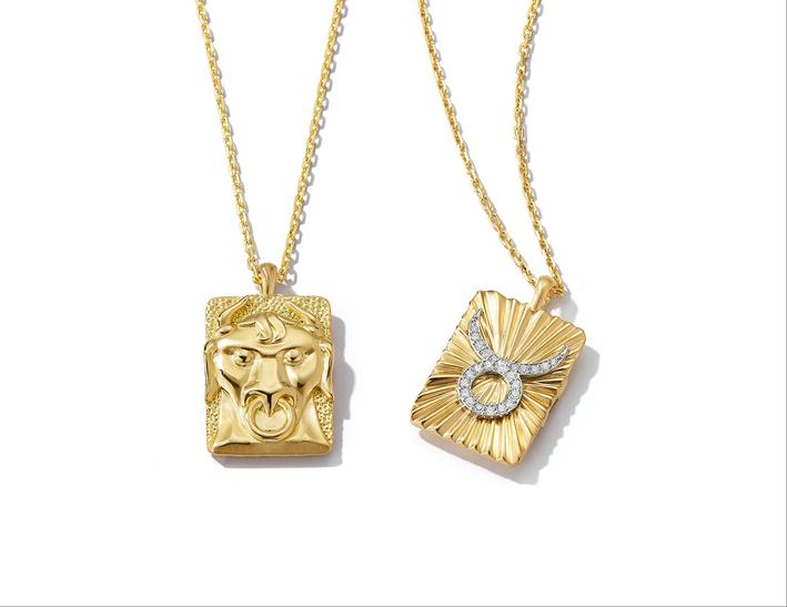 Collana con pendente in oro e in oro con diamanti, segno del Toro