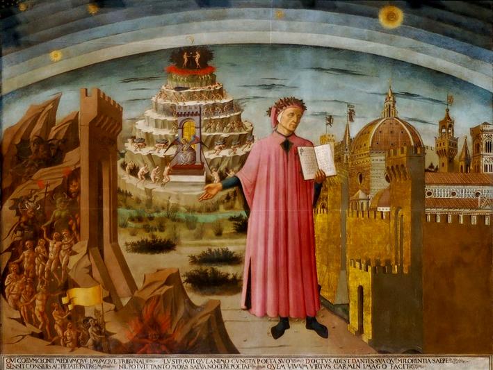 Dante nell'affresco di Domenico di Michelino nel Duomo di Firenze