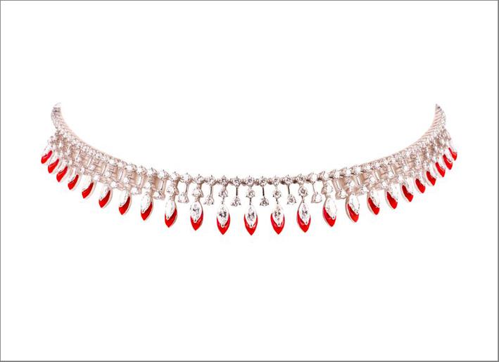 Girocollo The Rising Sun in oro bianco 18 carati, diamanti e smalto rosso