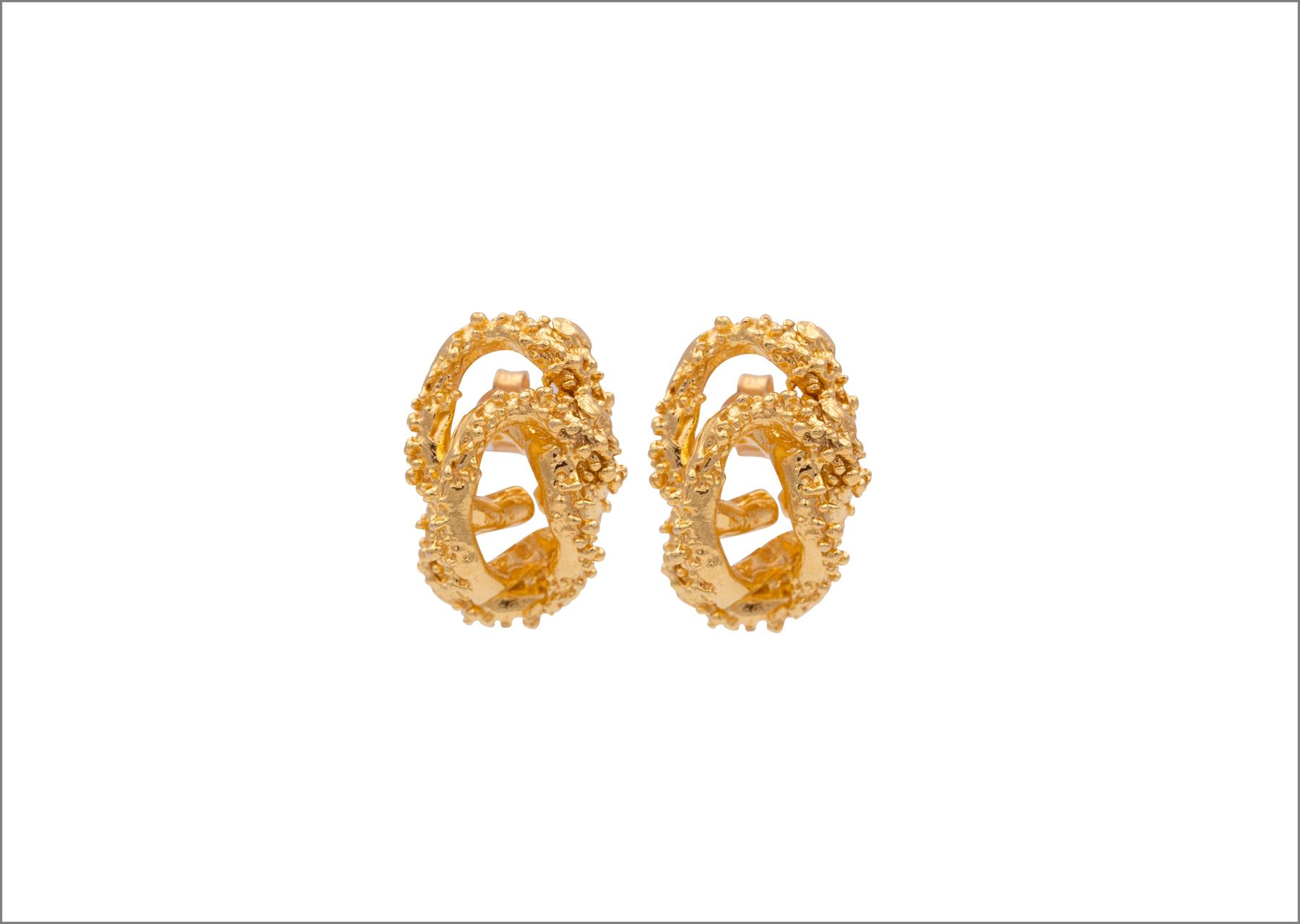 Orecchini Aphrodite bagnati in oro giallo 24 carati