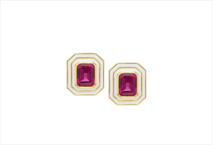 Orecchini in oro giallo 18 carati, diamanti, smalto, tormalina