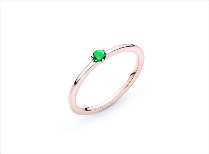 Anello in Pandora Rose con zirconia cubica verde