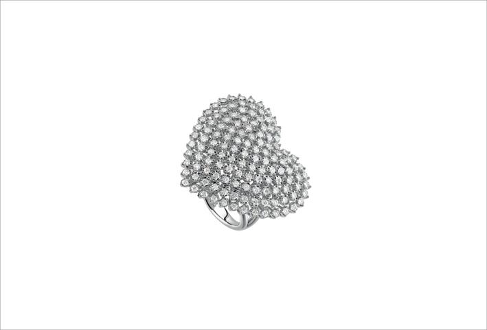 Collezione Bagliori, anello in oro bianco e diamanti