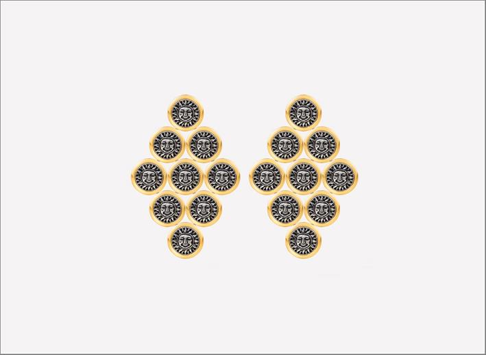 Orecchini chandelier Soleil in oro giallo 18 carati