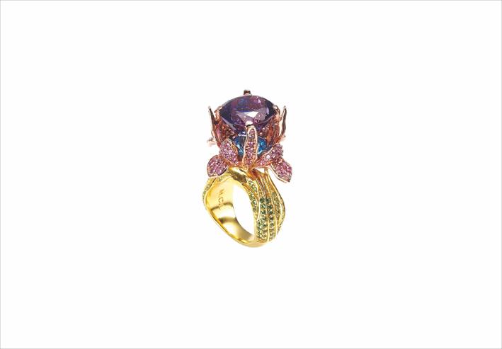 Anello Iris in oro 18 carati con ametista e pavé di zaffiri