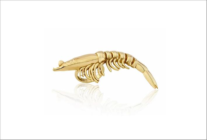 Anello gambero in oro 9 carati
