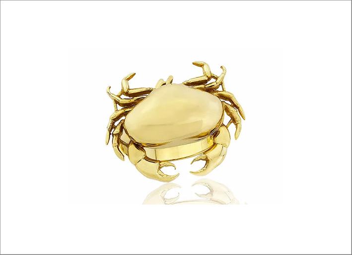 Anello granchio in oro 9 carati