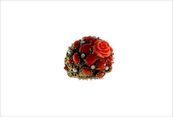 Anello Marinacon perle naturali, pietre semi preziose, paste vitree