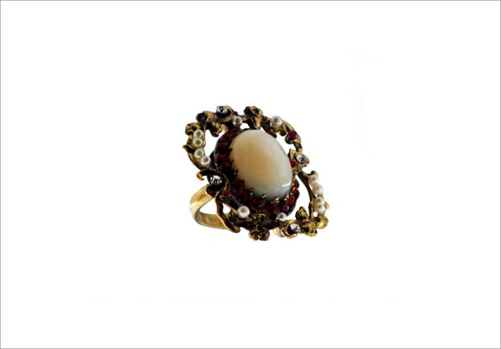 Anello Sephora con perle naturali, pietre semi preziose, paste vitree