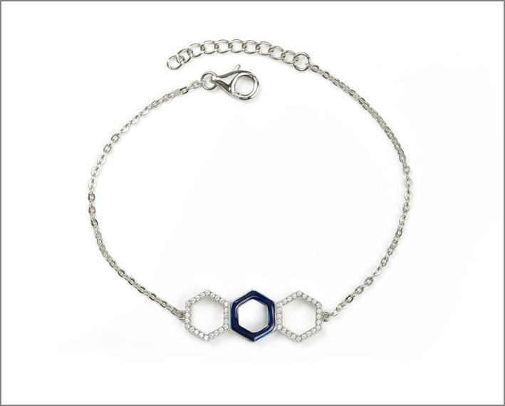 Bracciale in argento rodiato, cubic zirconia e smalto blu