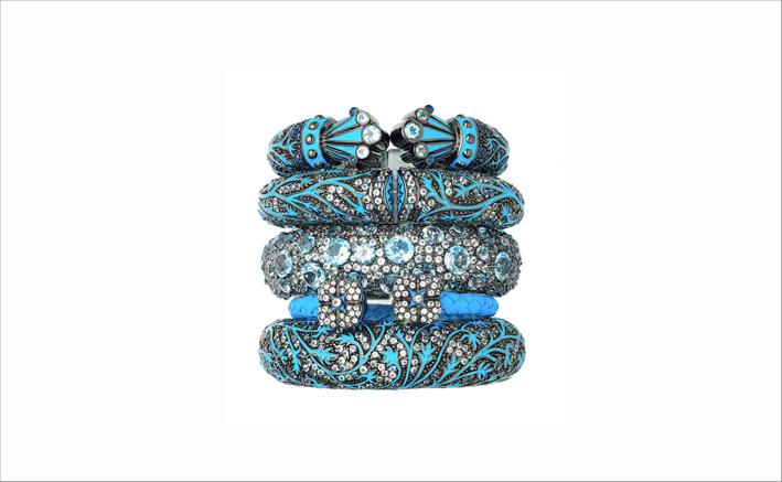 Bracciali in argento e turchese