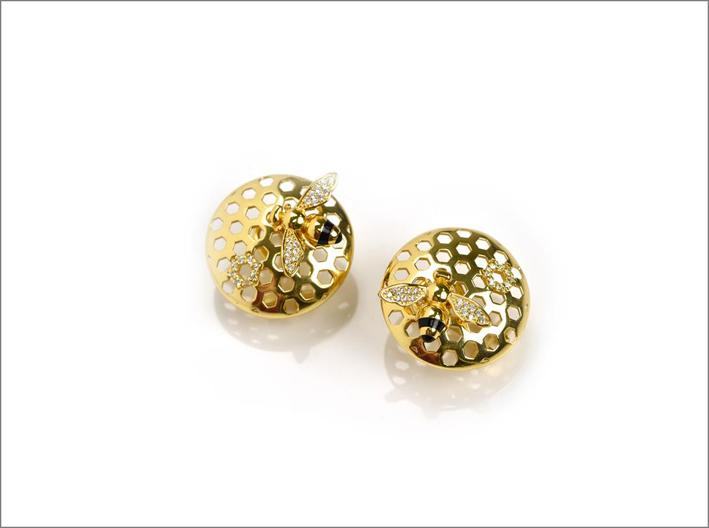 Misis, orecchini in argento placcato oro, cubic zirconia e smalto nero