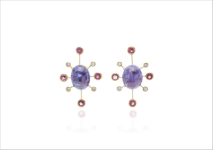 Orecchini in oro 18 carati, tanzanite, tormalina, diamanti