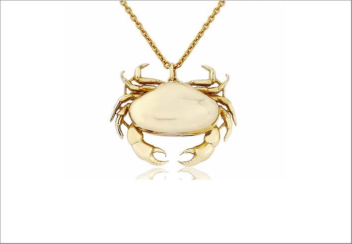 Pendente a forma di granchio in oro 9 carati
