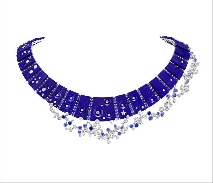 Collana Ciel de Minuit in oro bianco 18 carati, lapislazzuli, zaffiri e diamanti