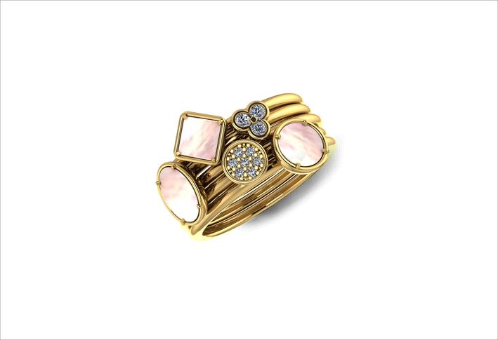 Gruppo di cinque anelli All together Itsme in oro giallo con diamanti e madreperla