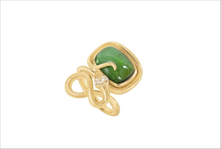 Anello Snake in oro giallo, tormalina verde e diamanti