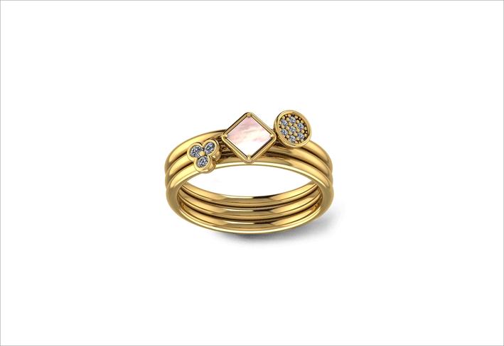 Tris di anelli Friends Itsme in oro giallo con diamanti e madreperla