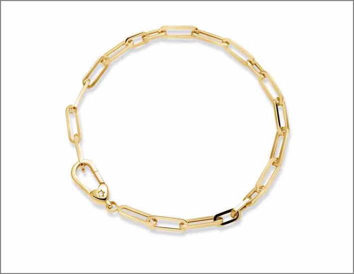 Bracciale in oro giallo con catena in maglia vuota rettangolare