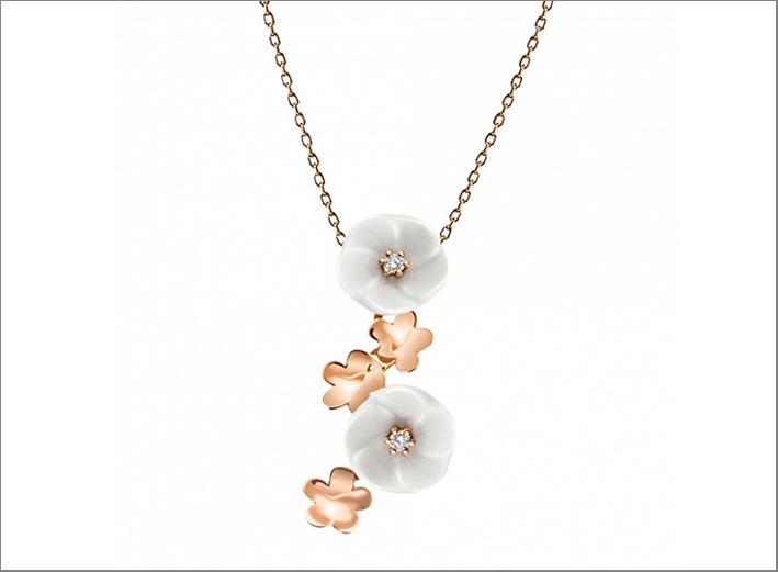 Collana in oro rosa, ceramica, diamanti