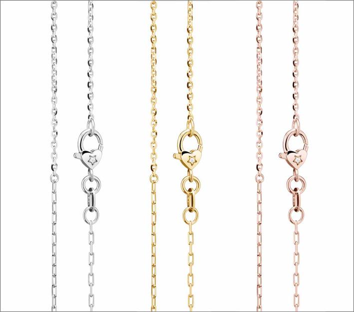 Collane in oro bianco, giallo e rosa