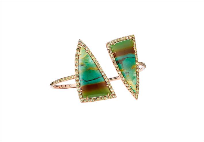 Bracciale in oro rosa, legno mineralizzato-opale, diamanti verdi