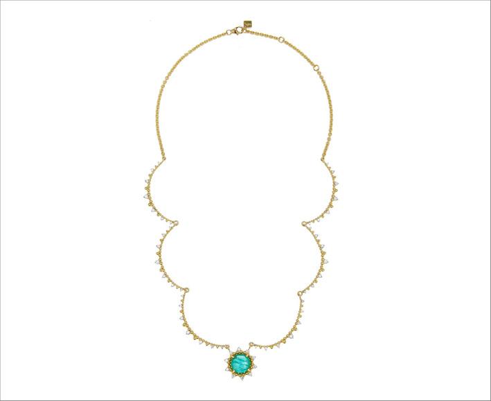 Collana Sunburst in oro giallo 18 carati, diamanti e smeraldo