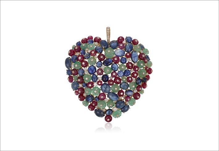 Pendente con smeraldi, zaffiri, rubini