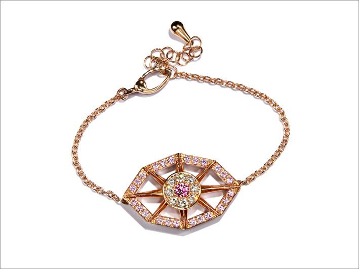 Bracciale in oro rosa, diamanti, zaffiri rosa