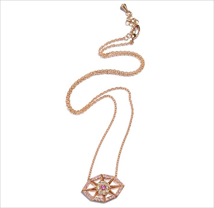 Sautoir in oro rosa, diamanti, zaffiri rosa