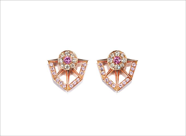 Orecchini in oro rosa, diamanti, zaffiri rosa