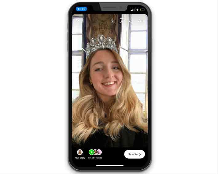 Il filtro Instagram permette di indossare virtualmente la tiara