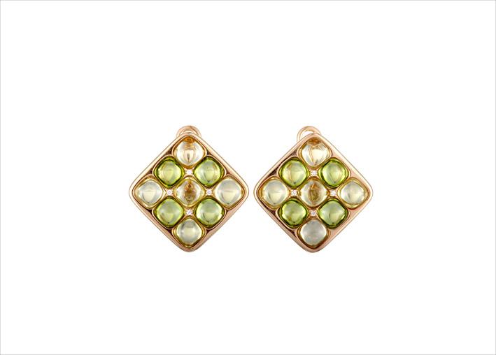 Orecchini in oro rosa 18 carati con diamanti e quarzo verde
