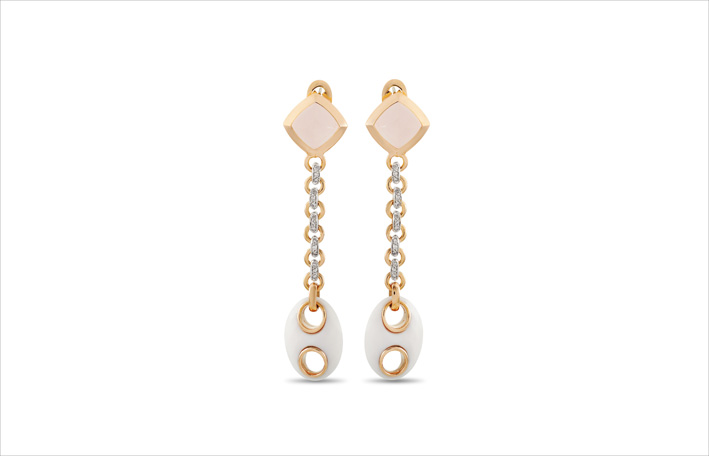 Orecchini im oro giallo 18 carati com diamanti, quarzo rosa e agata bianca