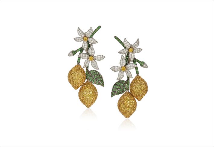 Orecchini a forma di limone con zaffiri gialli, tsavorite, diamanti