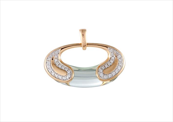 Pendente in oro rosa 18 carati con diamanti e quarzo verde