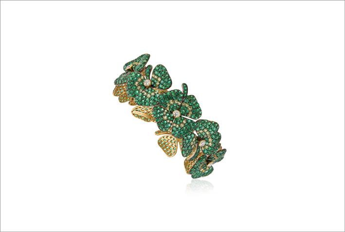 Bracciale in oro 18 carati con smeraldi taglio rotondo, peridoti e diamanti